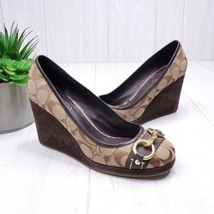 Coach Issy Monogram Wedge Shoes 8